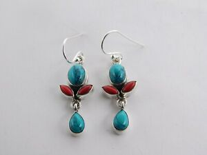 5.5Gm 925 Sterling Silver Lab Created Turquoise & Coral Multi Cut Earring M724/5