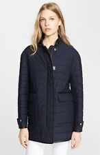 NWT BURBERRY BRIT $895 WOMENS LEATHER TRIM QUILTED  COTTON COAT JACKET SZ MEDIUM