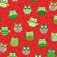 Christmas Happy Owl - Red SS:701  Sugar & Spice Textiles/Quilting/Patchwork