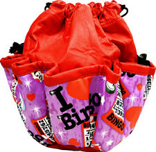 10 POCKET BINGO BAG WITH BINGO PRINT (RED) *MADE IN THE USA*