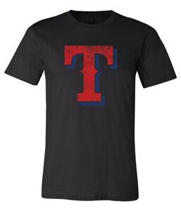Texas Rangers T Logo Distressed Vintage logo T-shirt 6 Sizes  S - 5XL!!!