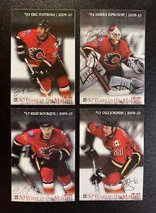 "2009-10 CALGARY FLAMES 3x5"" NHL CARD SET of 4 KIPRUSOFF JOKINEN NYSTROM BOURQUE"