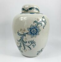 "Andrea by Sadek Ginger Jar Urn Japan Blue White Floral MINT 9"" Vintage Porcelain"