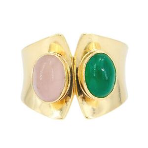 Design Gelbgold 585/14K Ring mit Rosenquarz / Chrysopras Handarbeit 1970 Gr. 57