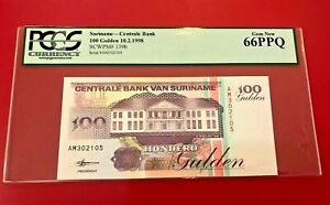 1988 Suriname Central Banque 100 Gulden PCGS Currency 66 PPQ Gem Neuf