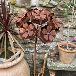 Rusty Metal Hydrangea Flower Garden Stake Rustic Wire Climbing Plant Support 114