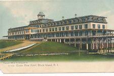 BLOCK ISLAND RI – Ocean View Hotel Glitter Covered Postcard – udb – 1906