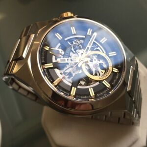 Mens Genuine Bulova Maquina Mechanical Automatic Skeleton Designer Watch 98A225