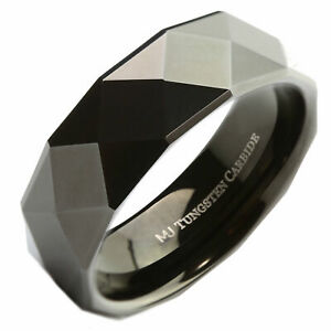 8mm Tungsten Carbide Wedding Band Black Multi Faceted Polished Ring