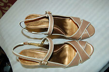 Circa Joan & David Beige Leather Heels Sandals Shoes Size 9 M
