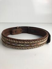 Mens Tony Lama Aged Bark Badlands Horse-Hair Belt 7289L Size 30 Preowned