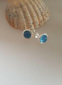 925  Sterling Silver Chalcedony blue gemstone  stud earrings butterfly backs,