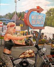 Motorcycle Oil Painting Laconia Weirs Beach Lady Biker on Harley Davidson by JG