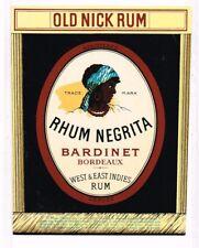 Unused 1940s France Bordeaux BARDINET RHUM NEGRITA OLD NICK RUM Label