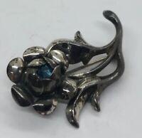 Vintage Sterling Silver Brooch Pin 925 Rhinestone Flower Signed Beau