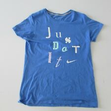 Nike T-Shirt Womens Blue Size Large Short Sleeved Slim Fit