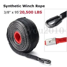 "95'x3/8"" 20500LBs Synthetic Winch Rope Line Cable Heat Guard ATV UTV Truck Boat"