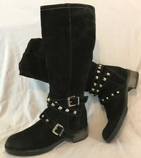 Moda In Pelle Black Knee High Suede Beautiful Boots Size 38 (116Q)