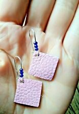 Genuine Leather Earrings & Lapis Lazuli crystals & 925 Sterling Silver Hooks
