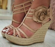 Authentic Stunning Jimmy Choo Strappy Espadrille Wedges Heels Shoes Sandals S160