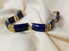14k yellow gold blue lapis bracelet 8""