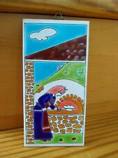 Vintage Tile Plaque Hand Made By Thanos Greece-Moschaton Woman Baking Bread