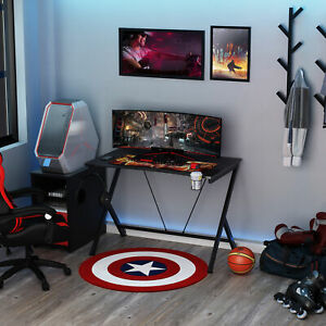 Gaming Desk Computer Table Metal Frame w/ Cup Holder, Headphone Hook, Cable Hole