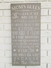 Mom's Rules Sign, Mom Rules Sign, Mom Rules, Mothers Day Gift, Fun Gift for Mom