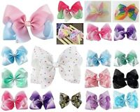 8 Inch Diamante Ombre Hair Bow Alligator Clip Pin Girls