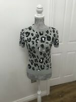 BNWT M&S Collection Grey Animal Print Embellished Knitted Top -  Size UK 6
