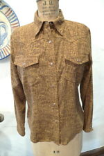 Women's Ladies STUDIO WEST Snap-Front Western Shirt Snake Print Size Small