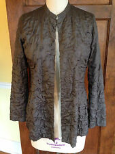 Eileen Fisher XS 100% Silk Dark Taupe Jacket Blazer