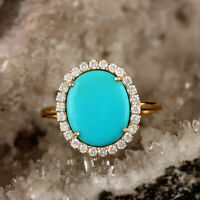 Genuine 2.48 Ct Turquoise Pave Diamond Cocktail Ring Solid 14k Yellow Gold