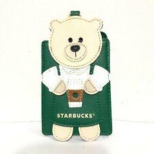 Starbucks Mini Bearista Name Tag Card Document Holder Green Leather