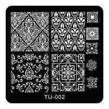 Nail Art Stamp Template Symmetry Classical Flower Finger Nails Konad Plate TU02