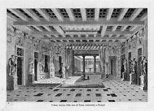 Stampa antica POMPEI Casa di Pansa restaurata Napoli 1870 Old print