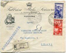 1951 Italia al Lavoro RACCOMANDATA Fabbrica Italo Svizzera Cioccolato Ferrara