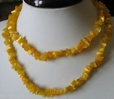 ANCIEN BIJOU COLLIER opale mexicain jaune baroque chatoyant necklace # B118