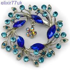 """NUOVO 2.5 """"argento / blu fiore BOUQUET SPILLA diamante cristallo matrimonio Spilla Pin"""