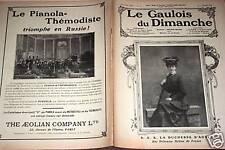 LE GAULOIS DU DIMANCHE 1909 N° 57 LA DUCHESSE D'AOSTE