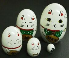 Japanese Nesting Matryoshka Doll Set Maneki Neko White Fortune Rich Lucky Cat