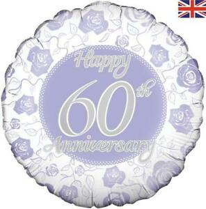"18"" Foil Balloon - Happy 60th Anniversary (Diamond Wedding anniversary)"