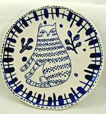 """Blue Kitty Cat Plate Food Microwave Safe For Salad Dessert Treats 7.25"""" Nwt"""