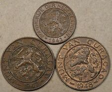 Curacao 1942 1 Cent,1947+48 2+1/2 Cents Better Grade-Unc. as Pictured