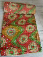 Kantha quilt patchwork indian throw old cotton saris handmade reversible gudari
