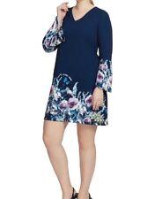 Tahari Scuba Knit Long Sleeve Placed Print Shift Dress Size 14W