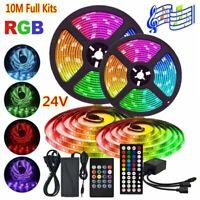 10M Music RGB LED Strip Lights 5050SMD Tape+ Sound Sensor IR Remote+UK Power 24V