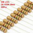 20Pcs 1W 1 Watt Carbon Film Resistor ±5% 1K -910K Ω Ohm 1 K - 910 K