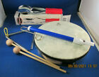 Musical Instrument Lot - Reno Drum, Spoons, Slide Flute, Metal Triangle, Beaters