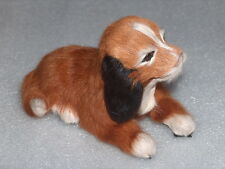 CUTE VINTAGE PAPIER-MACHE? AND REAL FUR TOY FIGURINE OF DOG